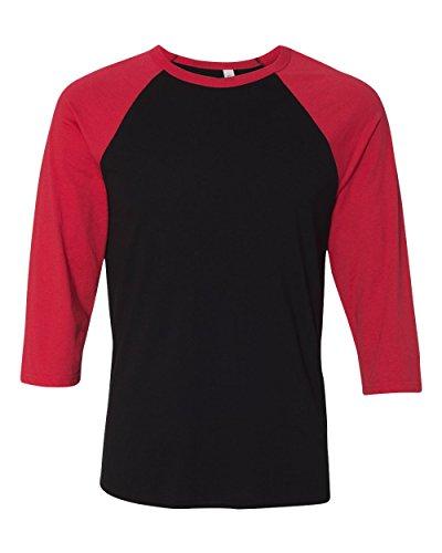 Bella 3/4 Sleeve T-shirt - Bella mens Unisex 3/4-Sleeve Baseball T-Shirt(3200)-BLACK/ RED-XL
