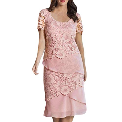Aniywn Party Formal Dresses, Women Short Sleeve Lace Patchwork Floral Print Midi-Dress Plus Size Dress Pink