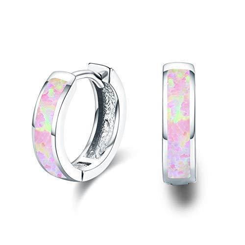 Small Hoop Earrings for Women Hinged Huggie Earrings Simulated Opal Earrings Hypoallergenic Earrings for Sensitive Ears 925 Sterling Silver Earrings for Women Jewelry for Women (Pink)