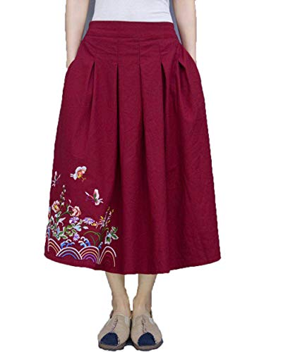 avec Poche A Jupes Rouge Jupes Broderie Line Ancien et Femmes Coton wA6qaa