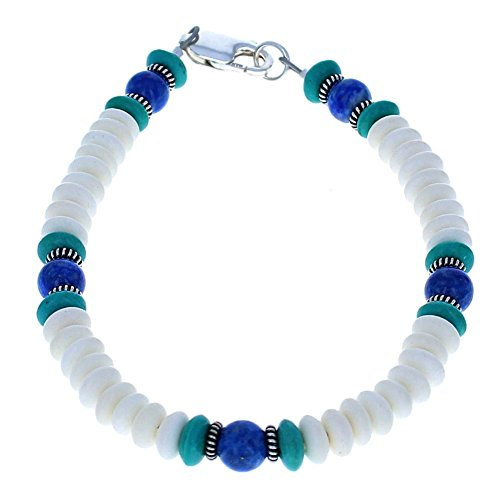 Mens White Bone, Lapis Lazuli & Turquoise Accented w/ Sterling Silver Beaded Bracelet - 9