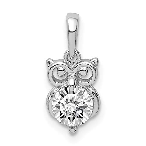 (925 Sterling Silver Rhodium-plated CZ Owl Charm Pendant)