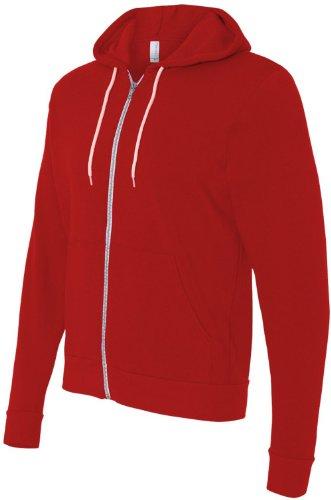 Bella 3739Unisex Polialgodón forro polar sudadera con capucha y cremallera completa para hombre rojo