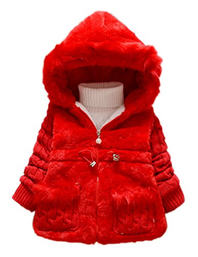 Toddler Kids Infant Baby Girl Knitted Sleeves Winter Warm Coat Jacket Snowsuit