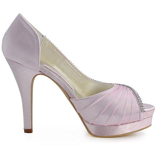 Minitoo para noche sandalias de boda satinado baile rosa talón plisado mujer 12cm nupcial MZ542 r4dqwrpA
