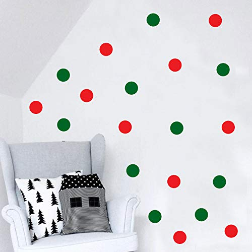 Set of 20 Vinyl Wall Art Decal - Red and Green Polka Dots - 5