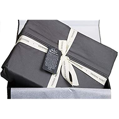 100% Egyptian Cotton Sheets, Genuine 1000 Thread Count 4 Piece Gift Box Set, Hotel Luxury Sateen Weave with Extra Deep Pockets (King, Charcoal)