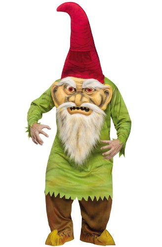 Fun World Unisex Big Head Evil Gnome Adult Costume, Multi, Standard ()