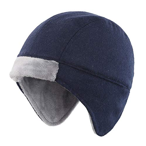 Connectyle Mens Fleece Lined Skull Cap Warm Winter Beanie with Ear Covers Running Cycling Sports Hat Navy
