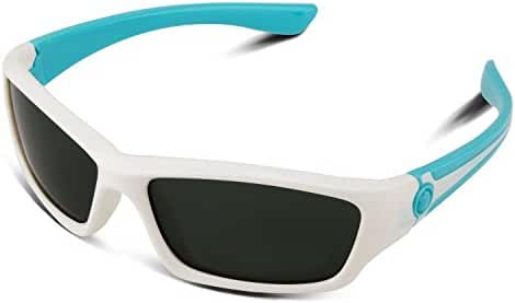 RIVBOS RBK025 Rubber Flexible Kids Polarized Sunglasses Glasses for Baby and Children Age 3-10 (Mirrored Lens Available)