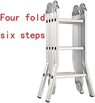WLG Escalera de mano, escalera de aluminio Escalera de puente plegable multifuncional En 131 Capacidad de carga estándar 150 kg,Cuatro veces seis pasos: Amazon.es: Bricolaje y herramientas