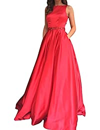 Elegant Long Sleeveless Open Back Beaded A-line Prom Dress with Pockets