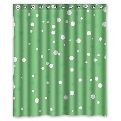 Lovely Carino Bianco E Verde A Pois In Verde Chiaro Sfondo Tenda