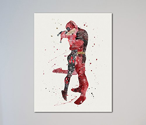 "Harley Quinn and Deadpool kissing 11"" x 14"" Print"