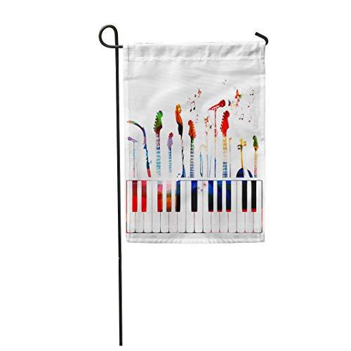 Semtomn Garden Flag Piano Colorful Music Instruments Color Guitar Modern Song Choir 28