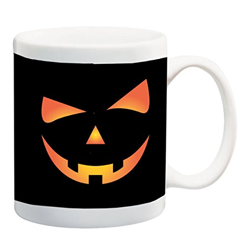 Scary Spooky Halloween Pumpkin Face 11 ounce Ceramic Coffee Mug Tea Cup by Moonlight Printing (Scary Halloween Coffee Mugs)