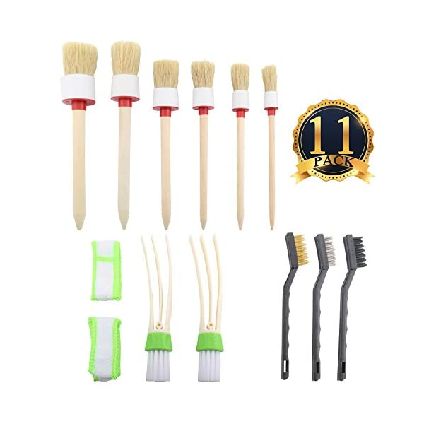 SUBANG 11 Pieces Car Detailing Brush Set For Cleaning Wheels,Interior,Exterior,Leather, Includes 6 Pcs Wooden Handle…