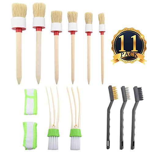 SUBANG 11 Pieces Car Cleaner Brush Set,Including Natural Boar Hair Detail Brush (Set of 6), Auto Detailing Brush Set For Cleaning Weels, Interior, Exterior, Leather and 2 pcs Automotive Air Conditione