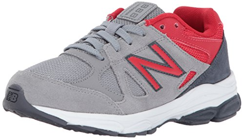 New Balance Boys' KJ888, Grey/RED, 3 Wide US Little - Boys Wide Balance New Shoes