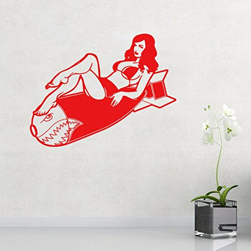 Pbldb 60X45Cm Personality Pin Up Vintage Burlesque Girl Decal Wall Sticker Cool Graphics Red