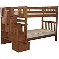 Bedz King Tall Stairway Bunk Beds Twin over Twin with 4 Drawers in the Steps, Espresso