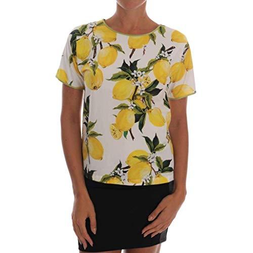 - Dolce & Gabbana Multicolor Lemon-Print Floral Top Blouse