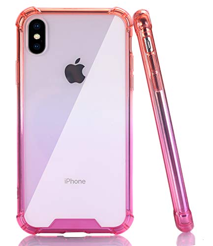 BAISRKE iPhone Xs Max Case, Shock Absorption Protective Cases Soft TPU Bumper & Hard Plastic Back Cover for iPhone Xs Max 6.5 inch - Red Pink Gradient