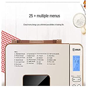 Automatic Bread Maker Programmable Bread Machine with Gluten Free Sitting, LED Display, Visual Menu (25 Programs, 3 Loaf Sizes, 3 Crust Colors, 13 Hours Delay Timer, 1 Hour Keep Warm) (Golden)