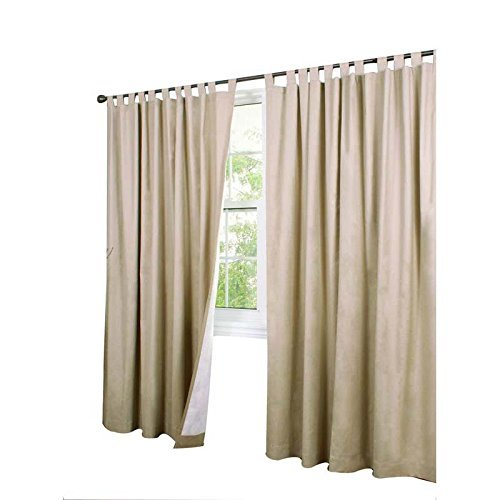 Commonwealth Home Fashions 70292-153-758-54 Thermalogic Insulated Solid Color Tab Top Curtain Pairs 54 in., Khaki