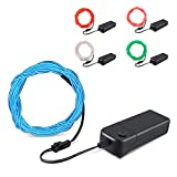 Furado EL Wire Kit White Red Blue Green Pink, 5 Pack Each of 9ft EL Wire Neon Lights, Portable Neon Party Lights for Halloween Blacklight Run Cosplay Festival Christmas and DIY Decor