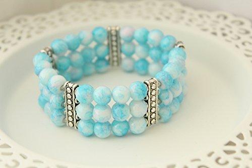 "Blue Glass Bead Boho Hippie Cuff Bracelet for Girls - 6"""