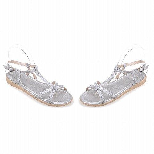 Carol Shoes Fashion Womens Buckle T-strap Casual Comfort Shiny Flats Sandals Silver EVhSv