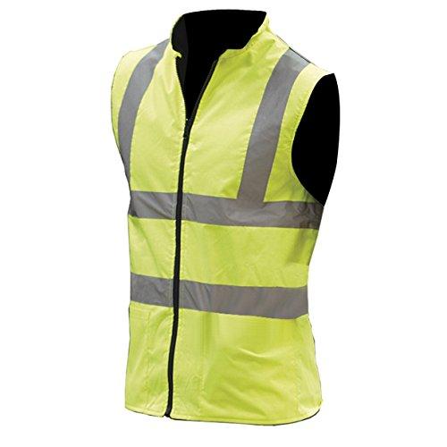 Yoko Mens Workwear Hi-Vis Reversible Fleece Vest / Jacket (S) (Hi-Vis Yellow)