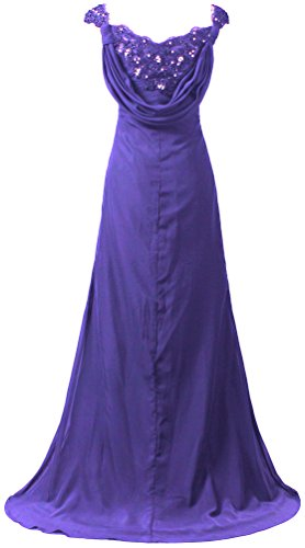 ANTS Long Gown Dresses Mother Sleeve Purple Cap s Prom Chiffon Women Evening r4Sgqr