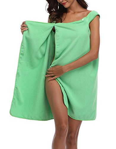 - Coser Paradise Women's Spa Bath Towel Wrap with Snaps, Shower Robe with Straps Green