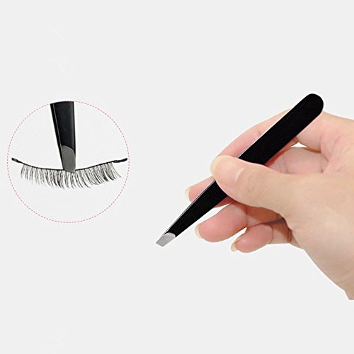 JD Million shop 1PC 2017 Black Color Eyebrow Tweezer Hair Beauty Slanted Puller Stainless Steel Eye Brow Clips Makeup Tool Brand New