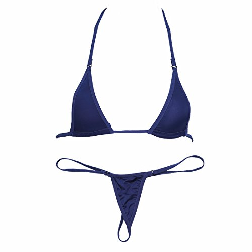 iiniim Women's Sexy Sliding Top Micro Thong G-String 2 Piece Bikini Swimsuit Navy Blue One Size