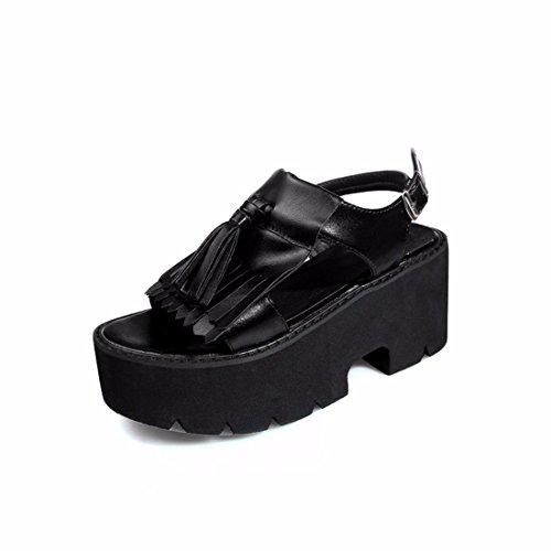 GTVERNH Zapatos de Mujer/Roma Sandalias De Verano Salvaje Estudiantes De Fondo Plano Simple Retro black