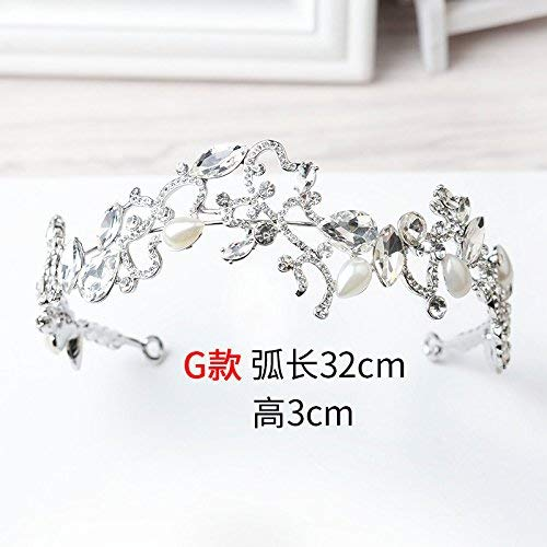 Crystal Crown, The Bride The Crown The Performance The Accessories The Wedding The Silver The Drill The Headdress The Modelling The Hair Ornament. (Color : H)