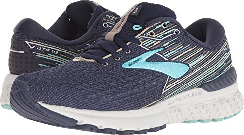 Brooks Women's Adrenaline GTS 19 Navy/Aqua/Tan 5 D US by Brooks (Image #3)
