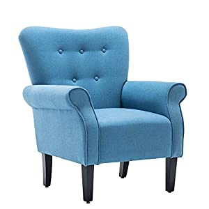 Simhoo Club Accent Chair/Wingback Side Chairs Modern Linen Fabric Upholstered Tufted ArmChair for Living Room,Bedroom-Blue
