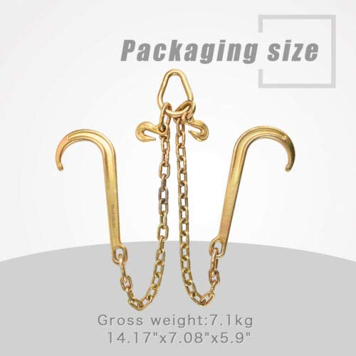 G70 V-Chain 5/16'' Large J-Hooks 2' Flatbed Tow Truck rollback Wrecker Carrier