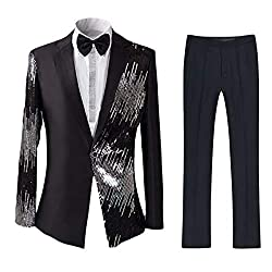 Slim Fit 1 Button Sequin Prom Suit