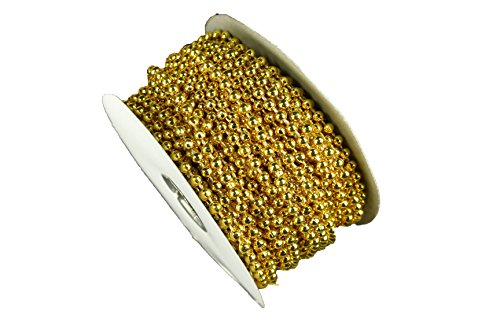 Dreampartycreation 4MM Faux Pearl Plastic BEADS on a String Craft ROLL 24 yds (Metallic Gold)