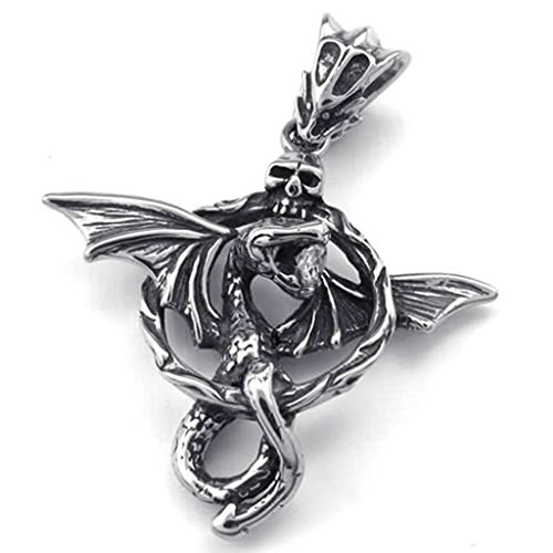 Daesar Stainless Steel Necklaces Mens Pendant Necklace Silver Mystic Snake Dragon 18-26