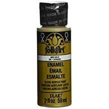 FolkArt Enamel Glass & Ceramic Paint in Assorted Colors (2-Ounce), 4033 Metallic Gold