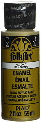 - FolkArt Enamel Glitter and Metallic Paint in Assorted Colors (2 oz), 4033, Metallic Gold