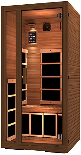 JNH Lifestyles Freedom 1 Person Canadian Western Red Cedar Wood Far Infrared Sauna 6 Carbon Fiber Heaters, 5 Year Warranty