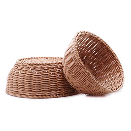 Woven Bread Basket Poly-Wicker Round Stackable Basket Tabletop Food Fruit Vegetables Serving Basket (Round,2pcs) (Wicker Poly Rattan)
