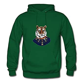 Customized Tiger Green Women Organic Cotton Hoodies Fitted Funny X-large